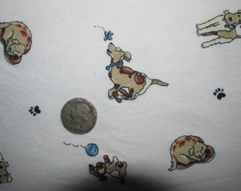 """Jersey Knit Fabric Ivory with Dogs Puppies Canines 58"""" wide BTY Pets"""