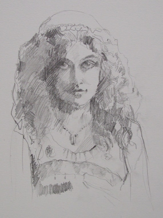 An original drawing 'Mysterious' by Linda Hunt drawing, pencil, woman, young girl