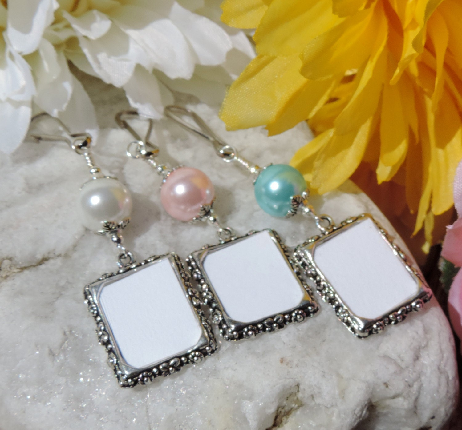 wedding bouquet photo charm memorial frame charm with blue