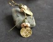 Etched Gold Brass Floral Dangle Drop Earrings Rustic Sage Green Cream Bone Tribal Boho Metalwork Linen Fiber Jewellery