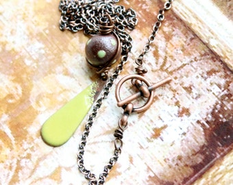 Lime Green Enamel Necklace - Teardrop Pendant, Brown Copper, Polkadot, Rustic Boho Jewelry