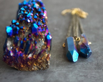 Blue Crystal Point Gemstone Dangle Earrings Gold Brass Chain Long Pendulum Swing Titanium Quartz Shoulder Dusters Boho Jewellery