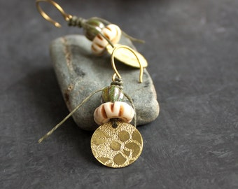 Etched Gold Brass Floral Dangle Drop Earrings Rustic Sage Green Cream Bone Tribal Boho Metalwork Linen Fiber Jewellery