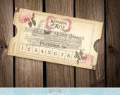 Vintage Styled Rose Train Ticket Place Cards Escort Cards - Destination Wedding Train Travel Theme - Customizable Printable DIY Digital File