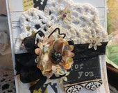 SHABBY Vintage Inspired ANY Occasion CARD Tea Stained Lace Doily Distressed Chalkboard Tag
