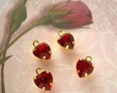 4 Red Heart Charms Vintage Swarovski Rhinestone Drop Siam GP Valentine
