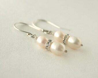 Pearl rhinestone earrings - white pearl sterling silver earrings -  wedding jewelry - bridal earrings - bridesmaid earrings