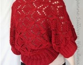 Deep Red Lace Sweater Shrug, Womans Comfy Fit Shawl Sweater, Wine Red Hand Knit Sweater, Knitted Lace Sweater