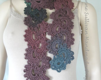 Queen Anne's Lace Scarf, Crocheted Lace Scarfette, Jewel Tone Lace Scarf, Multi Color Lace Scarfette