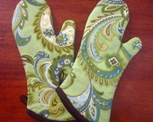 Oven mitts | Lime green | Chocolate brown | Paisley | Retro kitchen | Oven gloves | Single or set - Made to order