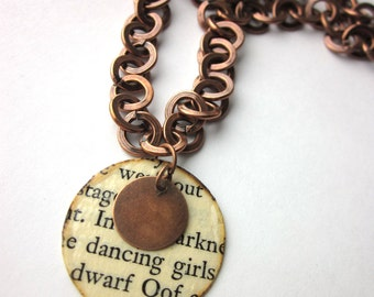 Book page necklace, literary necklace, Book page pendant, dancing, Great Promise