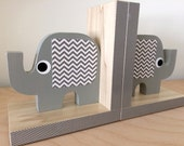 Elephant Bookends, Gray,  Elephant Nursery, Elephant Kids Decor, eco-friendly, Chevron or Polka Dot