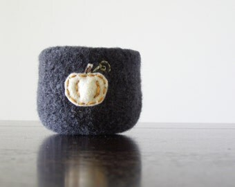 from the pumpkin patch -   gunmetal grey felted wool bowl with white ghost pumpkin - home decor, minimalist, autumn decor, simple, harvest