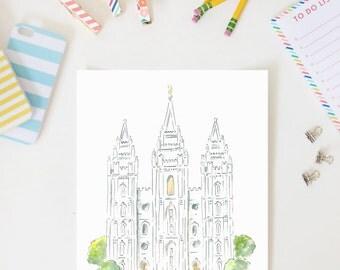 Salt Lake Temple AZ212 - LDS Temple - Watercolor Print - LDS Wall Art - Painting - Alexa Z Design -