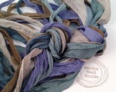 Hand Painted Silk Ribbons Sea Shore Color Palette Silky and or Fairy Ribbons