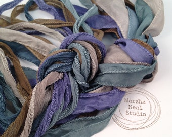 Silk Ribbon - Hand Painted Silk - Silky Ribbon - Fairy Ribbon - Jewelry Supplies - Wrap Bracelet - Craft Supplies - Sea Shore Palette