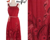 1980s Striking Red Sundress - Crimson Ruby Red Day Dress w/ Calla Lily Print & Gold Piping - Small