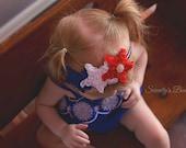 Red, White Blue Chiffon Heart Headband- 4th of July Baby Headband- July 4th Headband Newborn Infant Baby Toddler Girl Photo Prop