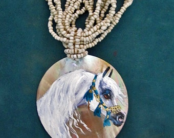 Arabian horse art Mother of pearl  hand painted necklace native halter 3
