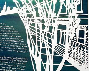 Greenwich Village Ketubah - Papercut Artwork - Ketuba - Wedding - Marriage Certificate