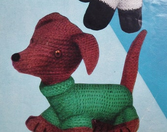 Vintage 1950s Knitting Pattern Soft Toys Dalmatian Dog Lamb 50s original pattern Weldons B1465