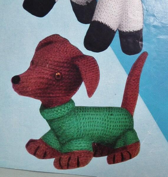 Vintage Knitting Patterns Toys : Vintage 1950s Knitting Pattern Soft Toys Dalmatian Dog Lamb