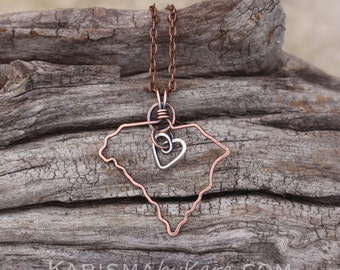 State Necklace, South Carolina, Wire Outline, Oxidized Copper