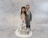 Bride & Groom With a Dog Personalized Wedding Cake Topper