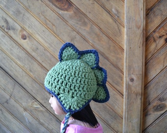 18 inch Doll Clothes - Crocheted Beanie with Ear Flaps - Spiky Dino - MADE TO ORDER - fits American Girl