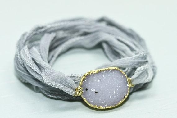 Druzy jewelry - druzy bracelet - silk wrap bracelet - silk bracelet - gemstone jewelry - statement jewelry