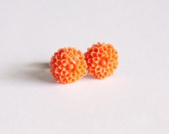 Small Orange Flower Stud Earrings Chrysanthemum Studs Orange Flower Vintage Carved Resin Cabochons Orange Jewelry