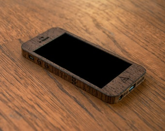 Wenge iPhone SE Skin - Wooden Case for iPhone 4/5/S and 6 - Real Wood Case for Your iPhone
