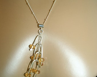 Citrine necklace silver necklace Pendant metalsmith-Faceted yellow Citrine on sterling chain and branches