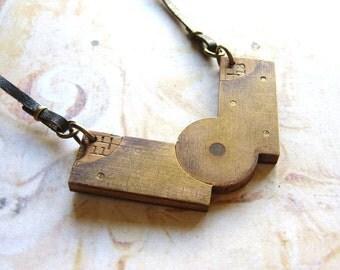 Hinge - Vintage Brass and Boxwood Ruler Hinge Unisex Leather Necklace