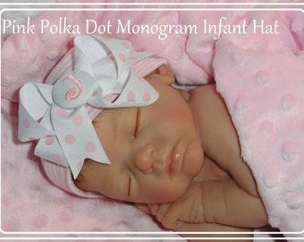 MONOGRAMMED baby girl hat, baby girl, newborn girl, newborn girl baby gift, newborn hospital hat, newborn hat, newborn Baby, Girl Infant Hat
