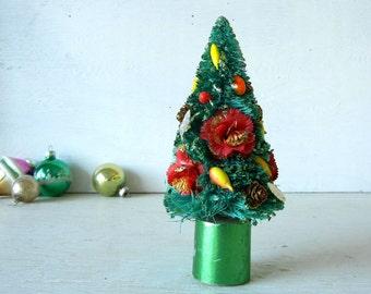 Vintage Christmas Bottle Brush Tree Millinery Fruit Japan