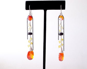Sterling Silver Dangle Earrings - Onyx, Cubic Zirconia, Swarovski Crystals - Orange, Yellow, Black - The Cocktail: Wire Wrapped