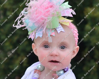 Pastel Chevron and Polkadot Over The Top Pink Purple Aqua Yellow Mint Bow on matching Headband