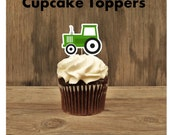 Tractor Birthday Party - Set of 12 Tractor Cupcake Toppers by The Birthday House