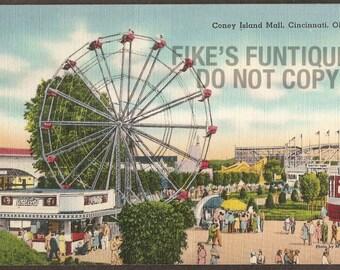 Cincinnati, Ohio Vintage Linen Postcard - Coney Island Mall (Unused)