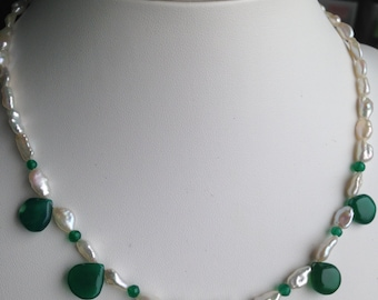 Necklace - Polished Droplets of Green Apatite, Freshwater Pearls, Faceted Apatite Rounds