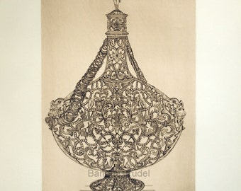 1859 Antique Print - Wine Bottle Encased in Gold Mesh,  Plate 14 - By Beaumont