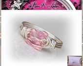 SALE The Pink Butterfly Custom Wire Wrapped Ring