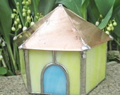 Yellow Fairy House Stained Glass Garden Art with a Copper Roof
