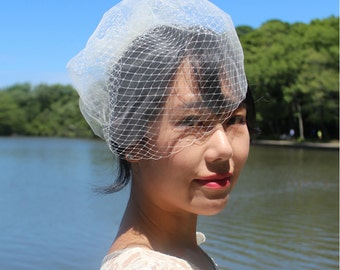 Double Layer Birdcage Veil, Blusher Veil, Tulle Veil, Wedding Veil, Mini Veil