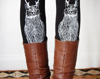 Wild Catalope Legging, womens plus legging, cat with antlers, cat leggings, christmas cat, womens plus gifts, XXL 16-20, usa made, Simka Sol