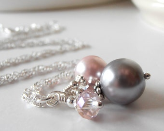 Pink and Gray Bridesmaid Jewelry - Bead Cluster Necklace - Pearl and Crystal Bridesmaid Necklace - Handmade Beaded Wedding Jewelry Set