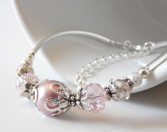 Dusty Pink Pearl Bridesmaid Bracelet with Crystal and Antiqued Silver Accents, Spring Wedding Jewelry