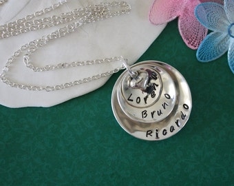 Personalized Mommy Necklace, Grandma Necklace, Mother Gift, Sterling Silver, 3 name charms
