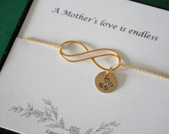 Gold Mom Infinity Bracelet, Initial Charms, Jewelry, Best Friend, Gold, Mother Bracelet, Grandma Bracelet, Infinite Friendship